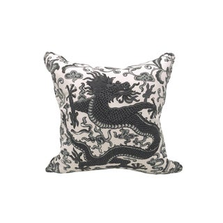 Scalamandre Chi'en Dragon Pillow, Charcoal For Sale