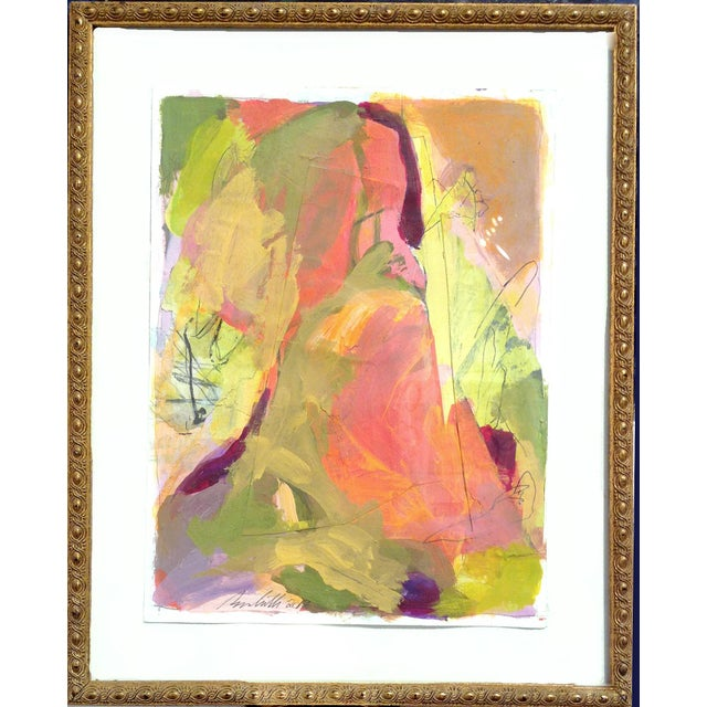 Abstract Framed Small Landscape Painting in Vintage Gold Frame For Sale - Image 10 of 10