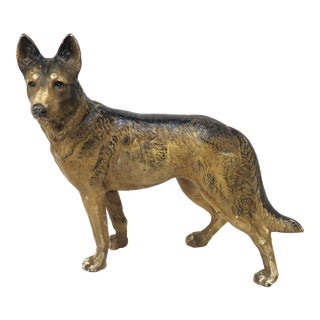 Vintage Hubley Cast Iron German Shepherd Dog Doorstop For Sale