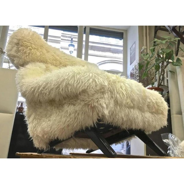 Mid-Century Modern Illum Wikkelso Spectacular Hammer Lounge Chair Covered in Natural Sheepskin Fur For Sale - Image 3 of 9