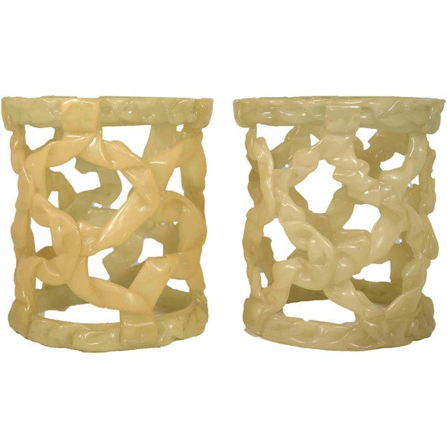 1980s Tony Duquette Style Resin Folded Ribbon End Tables - a Pair For Sale - Image 11 of 12