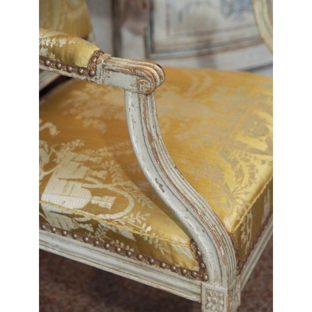 Wood 18th Century Painted Louis XVI Armchair For Sale - Image 7 of 11