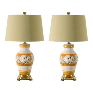 Fabulous Restored Pair of Vintage Italian Ceramic Ginger Jar Lamps
