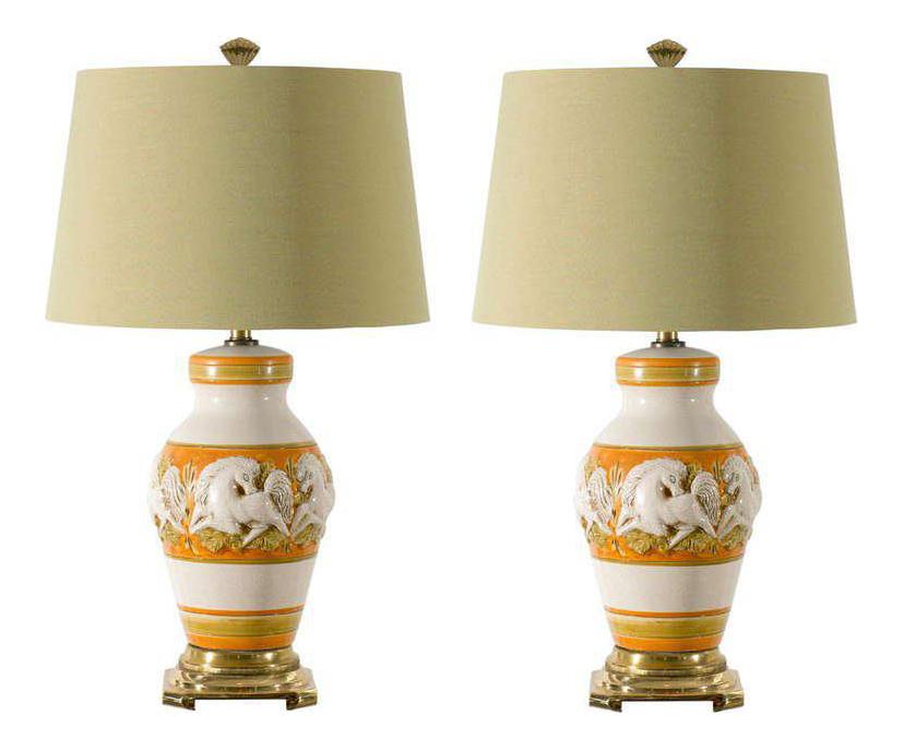 Fabulous Restored Pair Of Vintage Italian Ceramic Ginger Jar Lamps   Image  1 Of 11