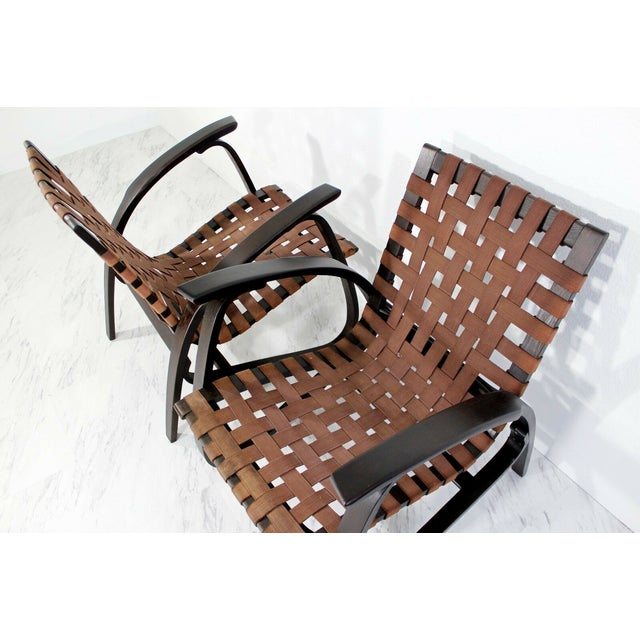 Mid-Century Modern Jan Vanek Bentwood Easy Arm Chairs with Woven Straps - a Pair For Sale In Detroit - Image 6 of 8