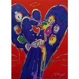 Peter Max Angel with Heart on Red 1996 For Sale