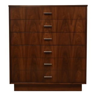 Walnut Modern Tall Dresser by Dixie For Sale