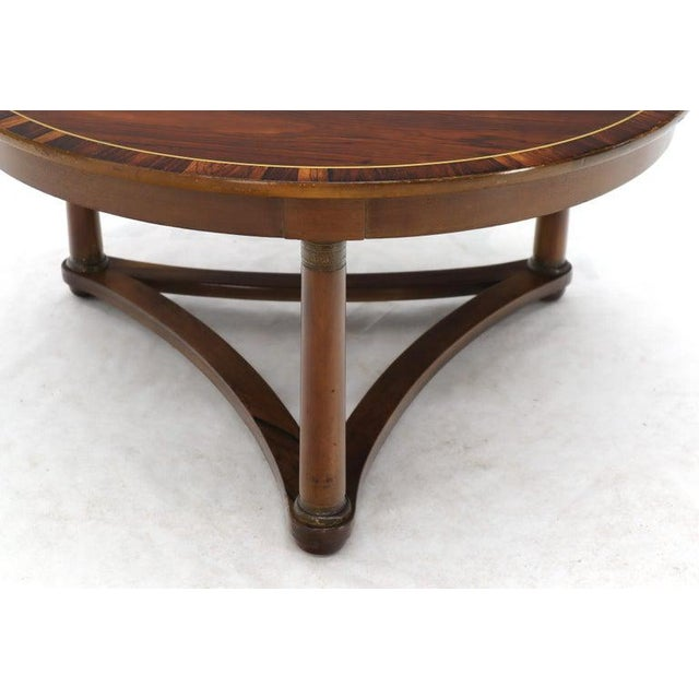 Brown Round Rosewood Neoclassical Rosewood Banded Top Coffee Center Table For Sale - Image 8 of 11