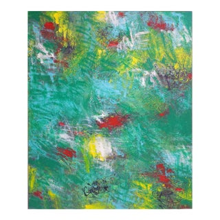 """Contemporary Abstract Oil Painting """"Emerald City"""" by Mirtha Moreno For Sale"""