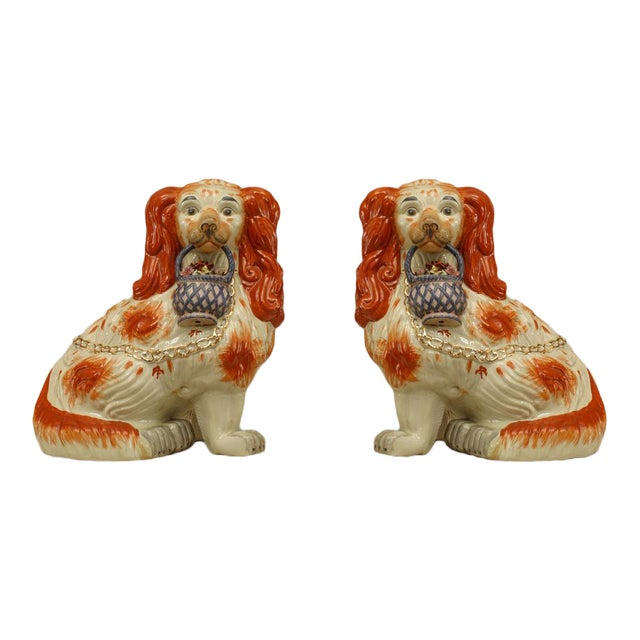 Early 20th Century English Staffordshire Spaniel Sculptures - a Pair For Sale