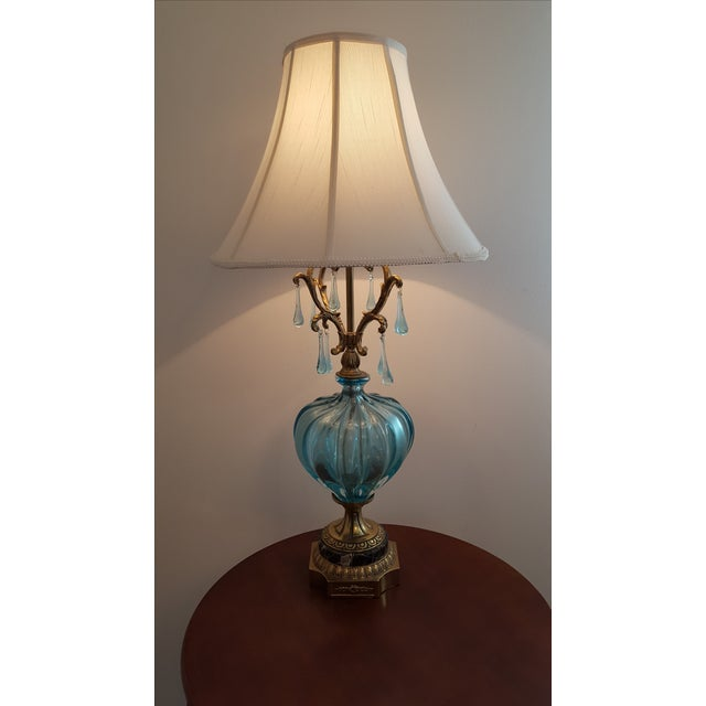 Hollywood Regency Turquoise Murano Lamp - Image 5 of 5