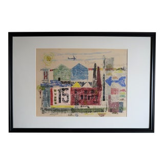 """Mid-Century - Woodcut of Industrial & Transportation - Robert Hungerford - 1956 - 38"""" X 26"""" For Sale"""