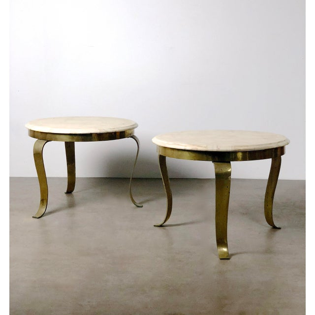 Mid-Century Modern Pair Muller's Onyx & Brass End Tables, 1960's For Sale - Image 3 of 11