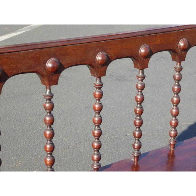 Vintage Spanish Colonial Style Carved Wood Spindle Bench Settee - Image 10 of 10