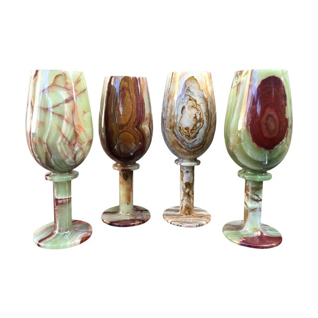 Vintage Green Onyx Goblets - Set of 4 - Image 1 of 8