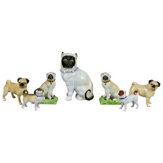Collection of Forty Two-Pottery and Porcelain Pug Dogs For Sale