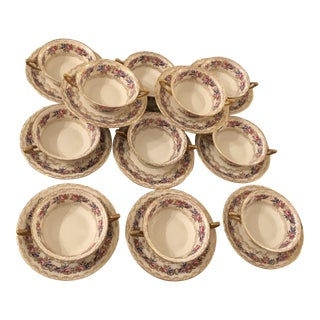1940s French Country Rosenthal China Holiday Handled Soup Bowls - 22 Pieces For Sale