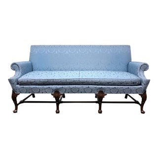 Hickory Chair Queen Anne Sofa Settee in Blue Brocade For Sale