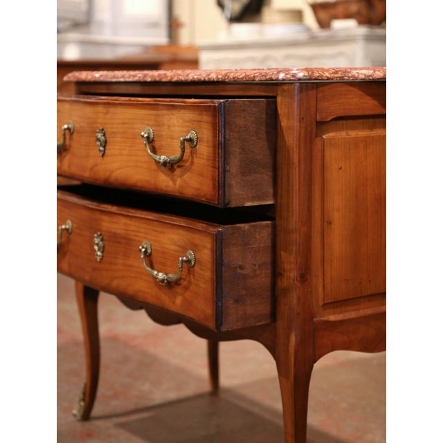 Metal French Carved Walnut Chest of Drawers With Red Marble Top For Sale - Image 7 of 9