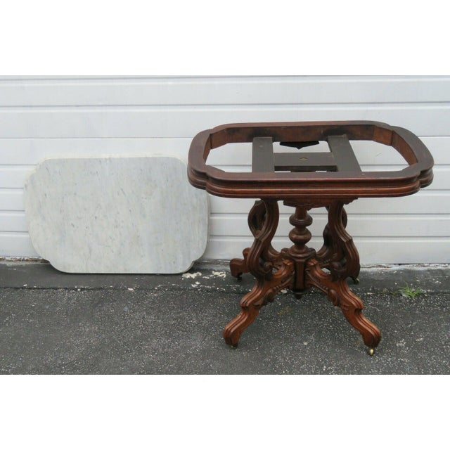 White Victorian Eastlake Carved Marble Top Large Side End Center Table For Sale - Image 8 of 11