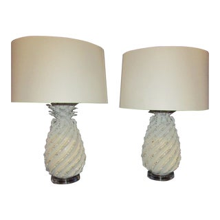 Ceramic Pineapple Lamps with White Glaze and Drum Shades - a Pair For Sale