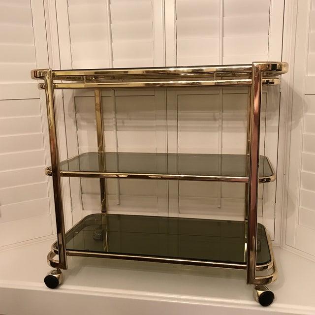 Mid-Century Brass & Smoke Glass Bar Cart - Image 2 of 10