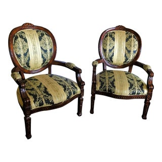 Cherry Framed Bergere Chairs- a Pair For Sale