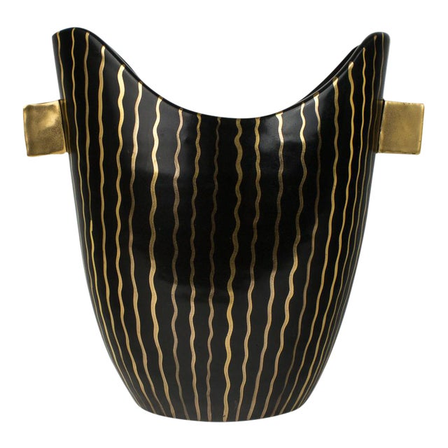 Mid Century Italian Striped Black and Gold Vase For Sale