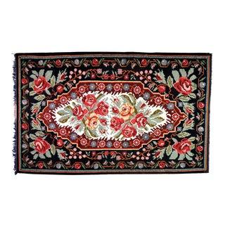 "Vintage Balkan Bessarabian Hand Made Organic Wool Natural Color Floral Kilim,6'5""x10'2"" For Sale"