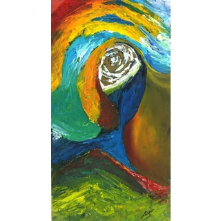 Ana Correa, Vibrant Colored Acrylic Abstract - the Eye of the Storm For Sale