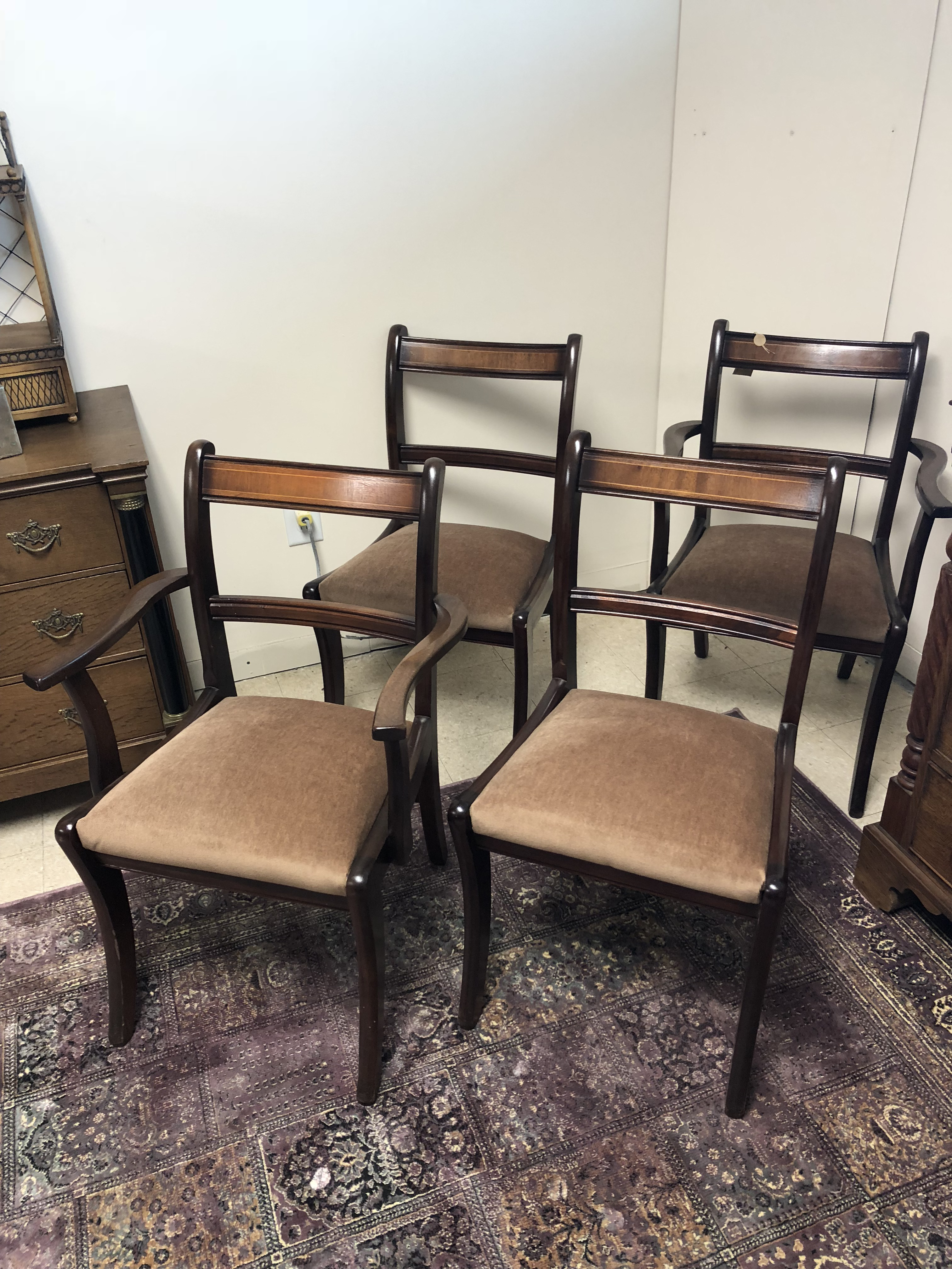Set Of 4 Antique Mahogany With Walnut Inlay Dining Chairs That Includes: 2  Armchairs And