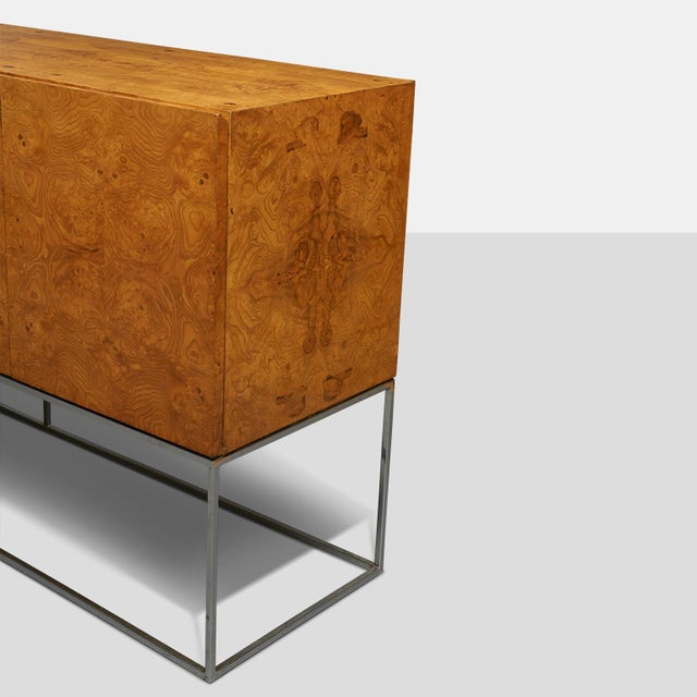 Mid-Century Modern Tall burlwood credenza by Milo Baughman For Sale - Image 3 of 6
