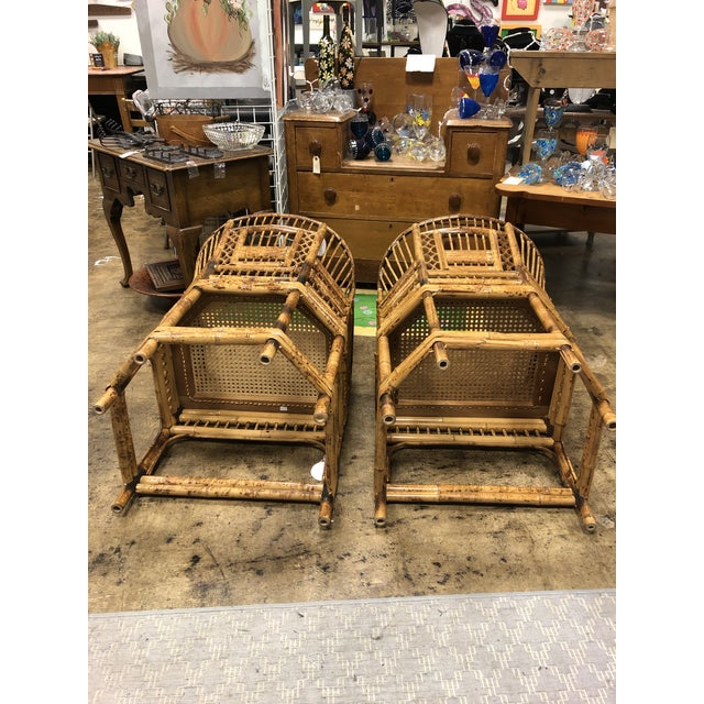 Hollywood Regency Vintage Brighton Pavilion Style Bamboo Rattan Chairs- A Pair For Sale - Image 3 of 11