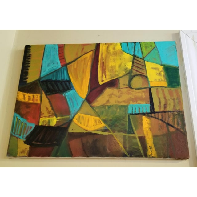 1960s Mid-Century Modern Abstract Teal & Orange Painting For Sale - Image 5 of 7