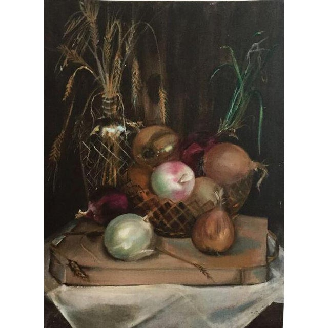 Oil on Canvas Still Life Onion Painting For Sale