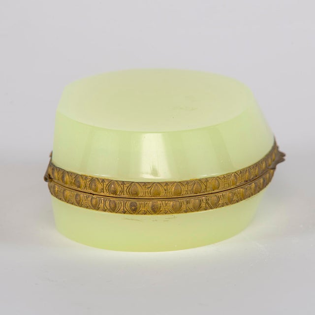French Uranium Opaline Glass and Brass Hinged Box For Sale - Image 4 of 9