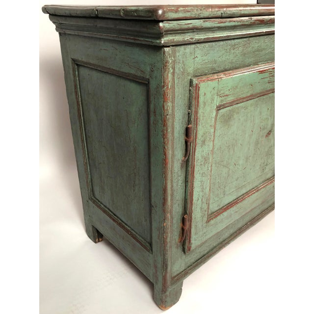 French Country Canadian Green Painted Side Cabinet For Sale In Boston - Image 6 of 13