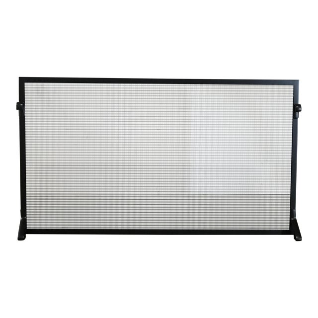 Custom Made Matte Black Metal Fire Screen - Image 1 of 6