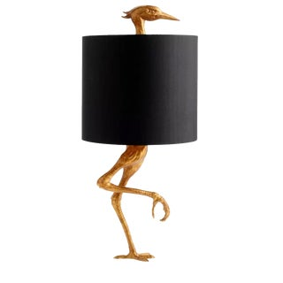 Aged Gold Bird Lamp With Black Shade For Sale