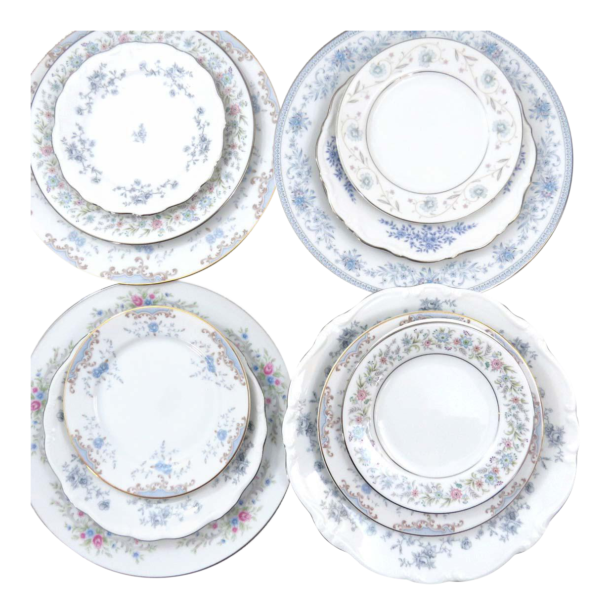 Vintage Mismatched Fine China Dinnerware Set - Service for 4  sc 1 st  Chairish : vintage china dinnerware sets - pezcame.com