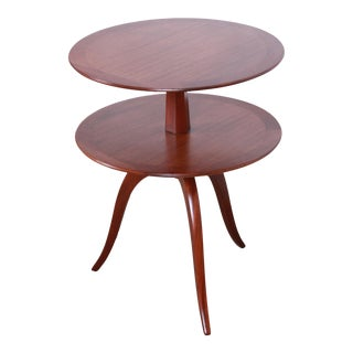 Edward Wormley for Dunbar Two-Tier Mahogany Side Table, Newly Restored For Sale
