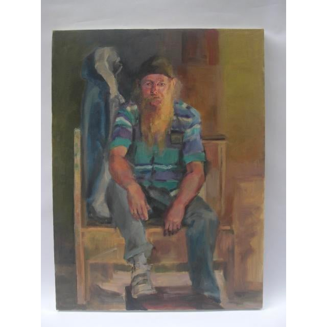 Figurative Painting Of Bearded Man In Striped Shirt - Image 5 of 5