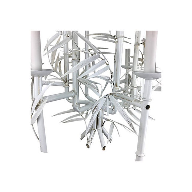 1960s Italian Faux-Bamboo White Chandelier For Sale - Image 5 of 5