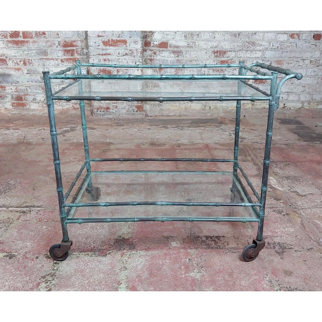 Gothic 1930s Vintage Faux Bamboo Patinated Bronze Serving Bar Cart For Sale - Image 3 of 11