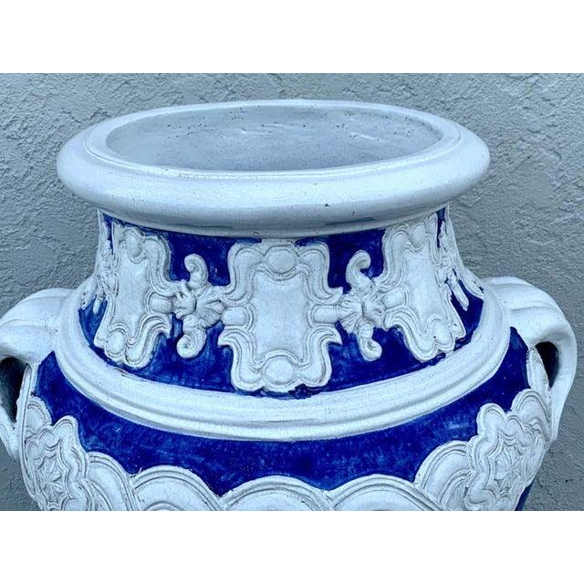 Ceramic Italian Blue and White Della Robbia Style Jardiniere, Provenance, Celine Dion For Sale - Image 7 of 11