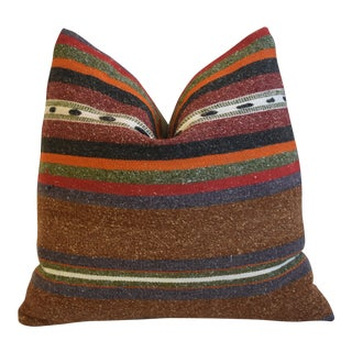 """Tribal Beachy Boho-Chic Striped Turkish Carpet Feather/Down Pillow 18"""" Square For Sale"""