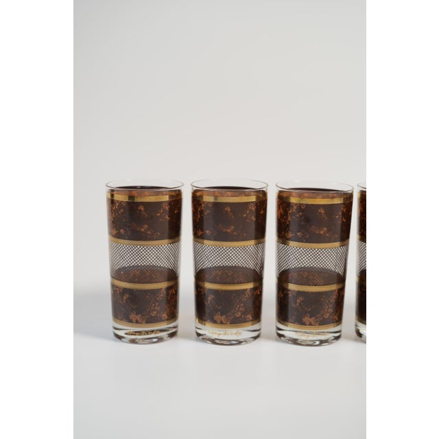 Georges Briard Georges Briard Faux Leather Print Banded Highball Barware Glasses - Set of 6 For Sale - Image 4 of 5