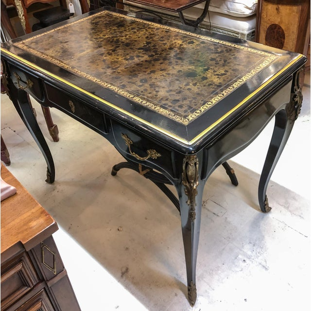 Louis XV Style Desk / Secretary With Neoclassical Stool Set For Sale - Image 11 of 13