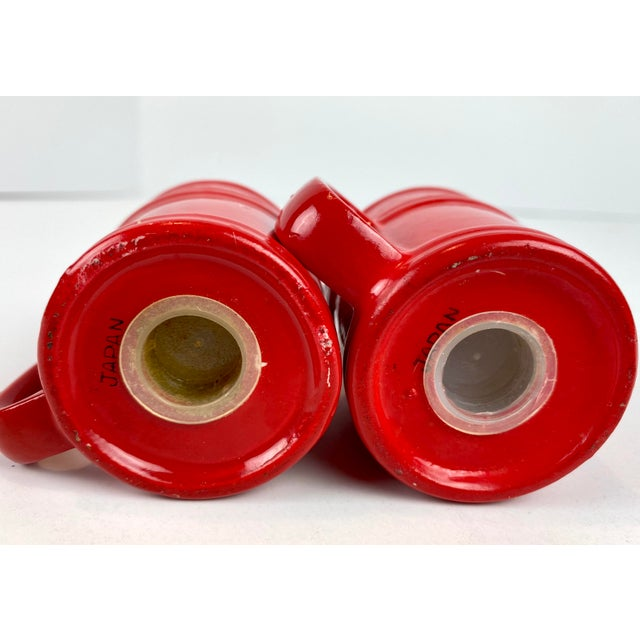 Mid-Century Modern Vintage Japanese Glazed Red Ceramic Salt and Pepper Shakers - a Pair For Sale - Image 9 of 10