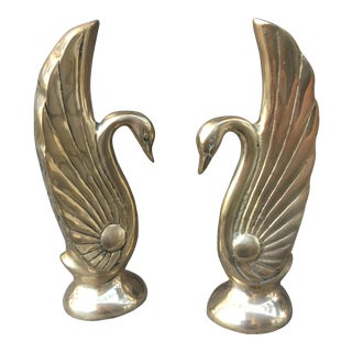 1920 Art Deco Hollywood Regency Swan Bookends - A Pair